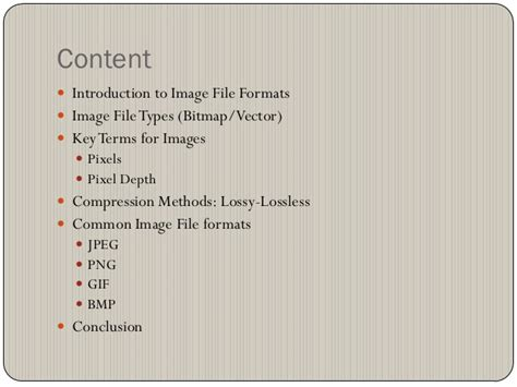 Commonly Used Image File Formats