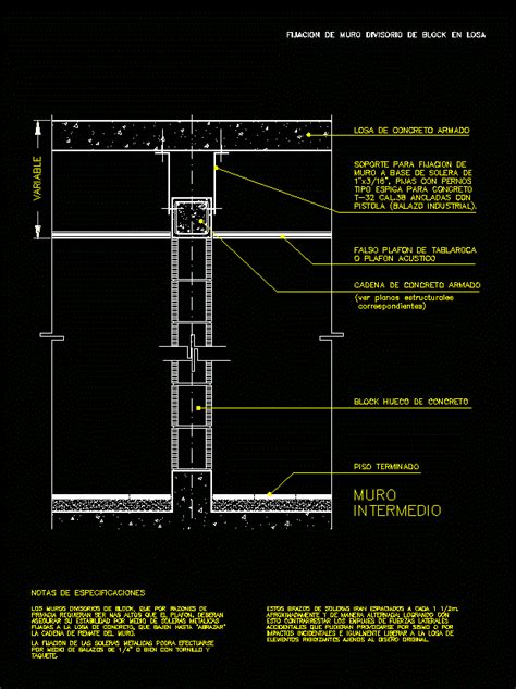 Block partition wall slab in AutoCAD | CAD download (93