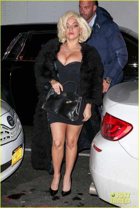 Lady Gaga's Cleavage Busts Out Of Her Little Black Dress